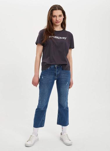 DeFacto Baskılı Kısa Kollu T-Shirt Antrasit